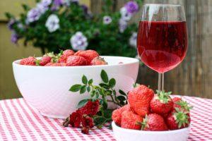 strawberries and wine